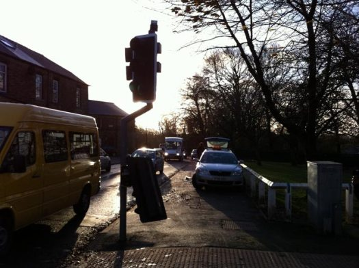 Damaged traffic lights on Manchester Road