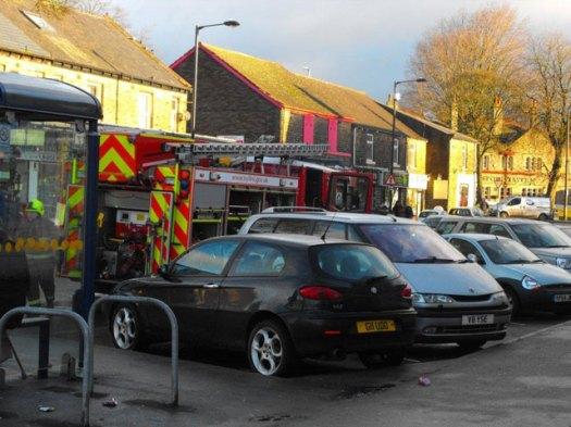 Fire engine in precinct
