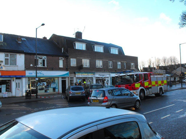 Chemist and fire engine in precinct