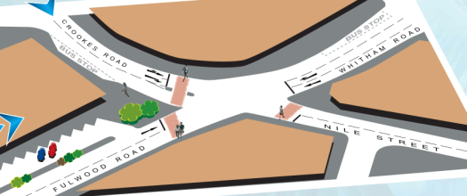 Broomhill Crookes Road junction proposals - option 1