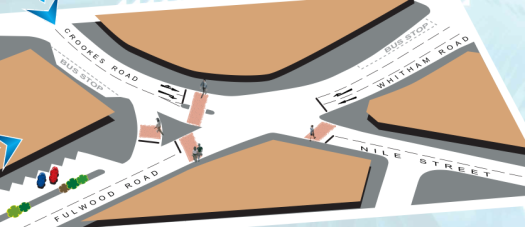 Broomhill Crookes Road junction proposals - option 2