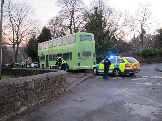 Police attend the scene of the accident on Darwin Lane
