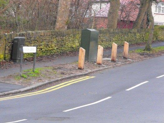 New wooden bollards on Marsh Lane