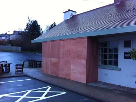 Boarded up area of The Sportsman pub in Crosspool