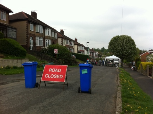 Den Bank Crescent was part-closed for the royal wedding street party