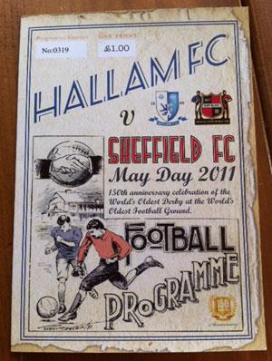Hallam FC v Sheffield FC 150th anniversary match programme