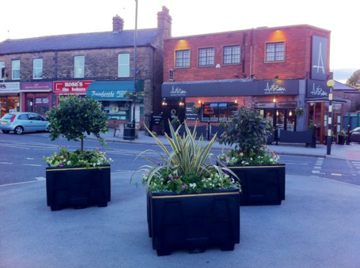 Planters opposite Artisan restaurant in Crosspool precinct