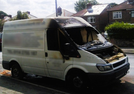 The torched van on Lydgate Lane