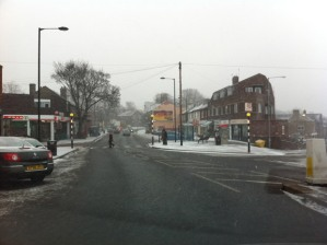 Saturday lunchtime: snow starts to fall in Crosspool precinct