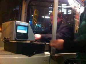 The new ticket machine on a 51 bus