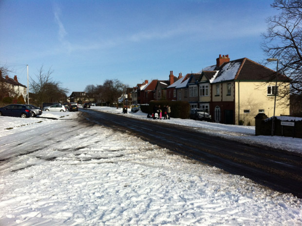 Sunday lunchtime: main roads through Crosspool such as Watt Lane were clear