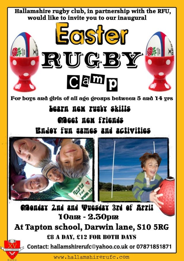 Easter rugby camp at Tapton school