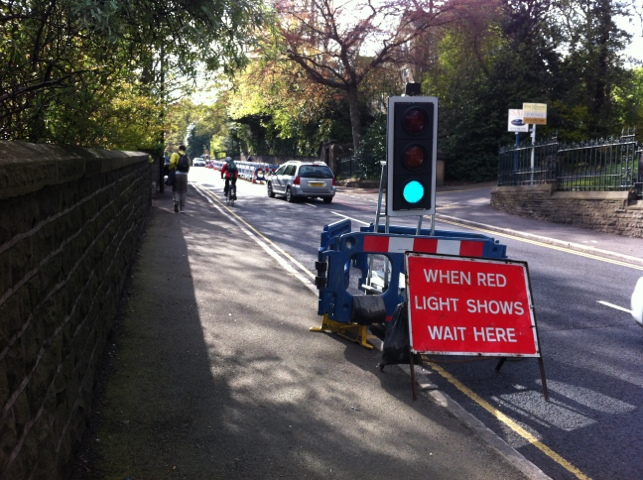 Temporary traffic lights on Manchester Road