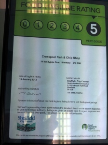 Crosspool chippy: 5/5 for food hygiene