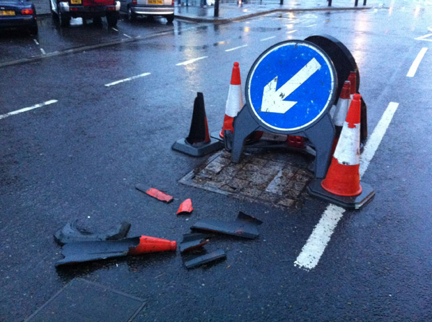 The damaged manhole cover in the precinct is finally due to be repaired on Sunday