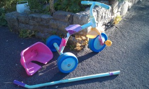 Tricycle and pram damaged by vandals on Calver Fields