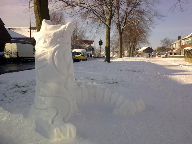 Manchester Road snow sculpture. Photo: David Rumsey
