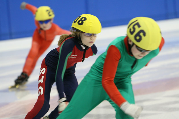 Harry Jessop (front) competes at the British Short Track Speed Skating Championship in Nottingham