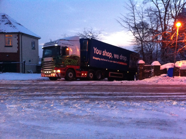 A lorry stuck in the ice at the top of Darwin Lane