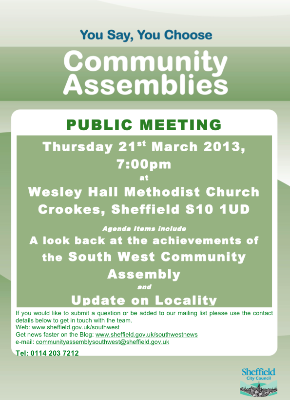 Community Assembly Meeting, Thursday 21 March, Crookes