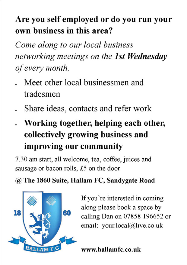 First Wednesday networking event at Hallam FC's Sandygate