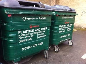 Plastics recycling bin