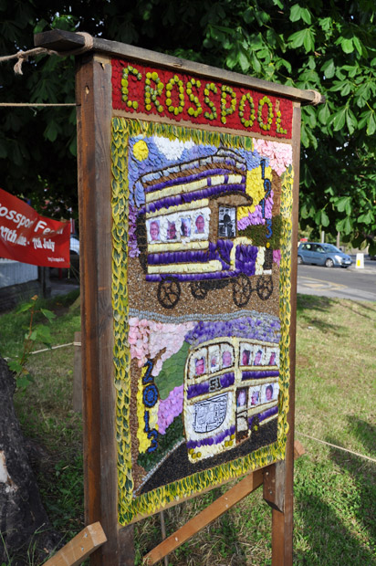 The bus-themed Crosspool well dressing 2013