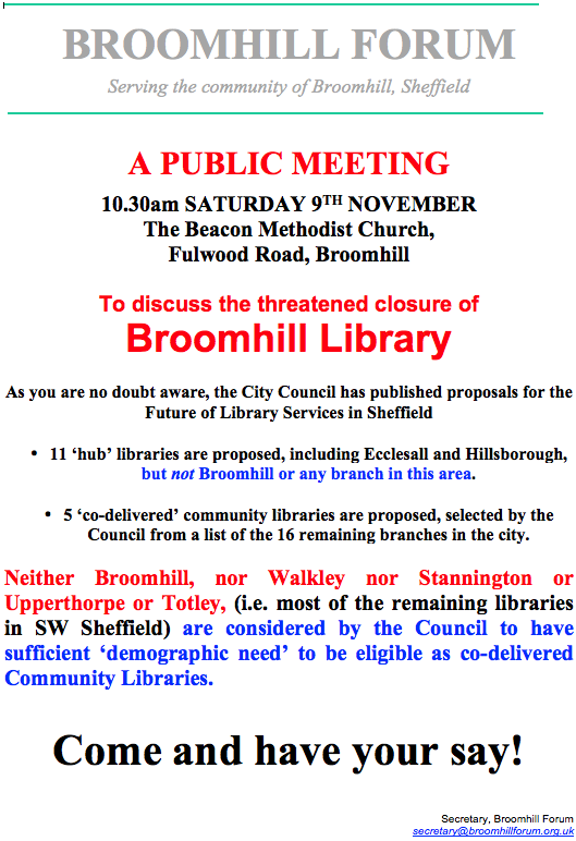 Meeting to discuss the future of Broomhill library