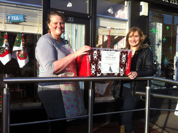 Paula and Kate with the Crosspool Christmas Red Box