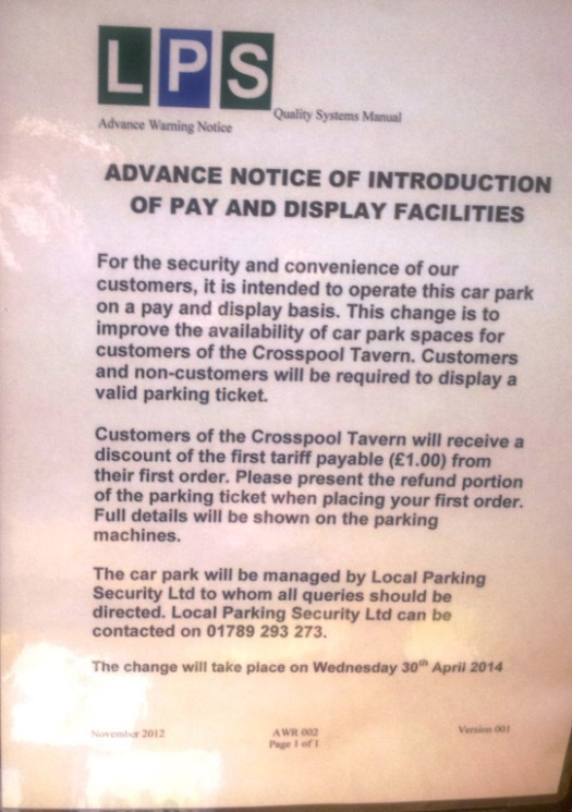 Crosspool Tavern car park is now pay and display