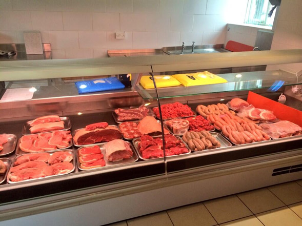 The meat counter at Duck House farm shop