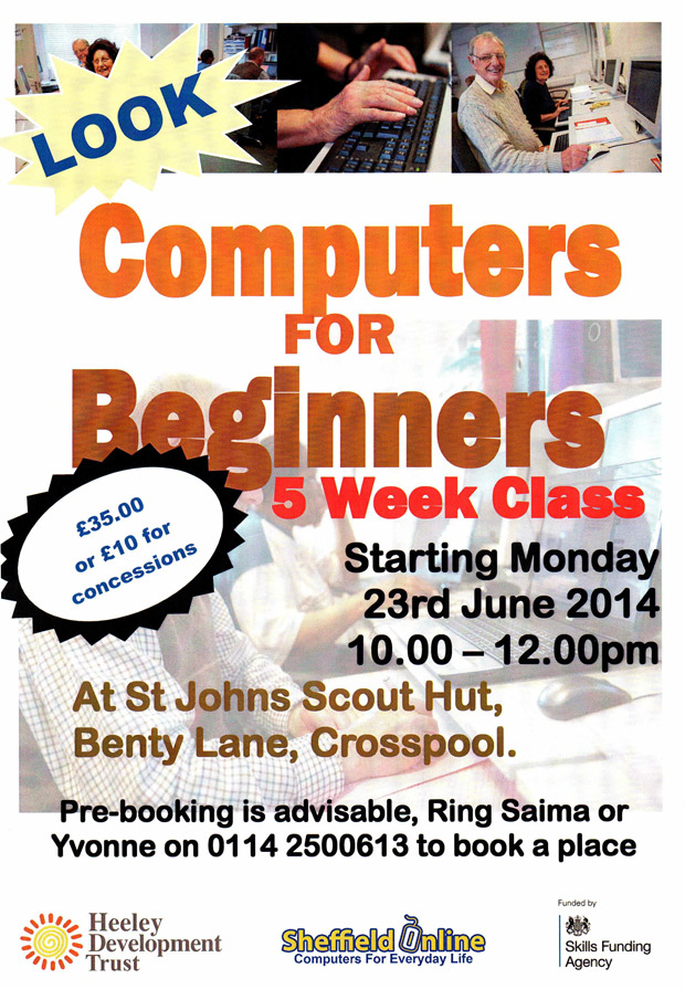 Computers for Beginners starts Monday 23 June 2014