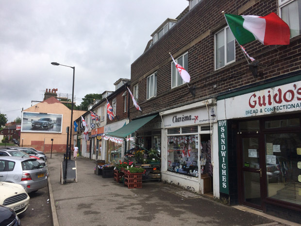 Flags in Crosspool shopping precinct