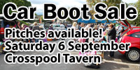 Car boot sale - 6 September - pitches available
