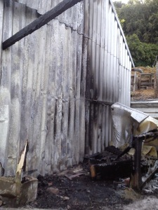 Fire at  Hagg Lane & District Gardeners' Allotments Society hut