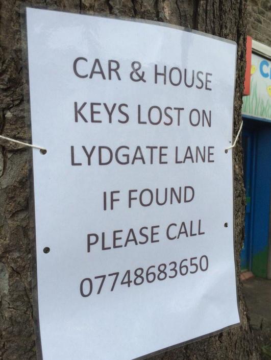 Lost keys on Lydgate Lane