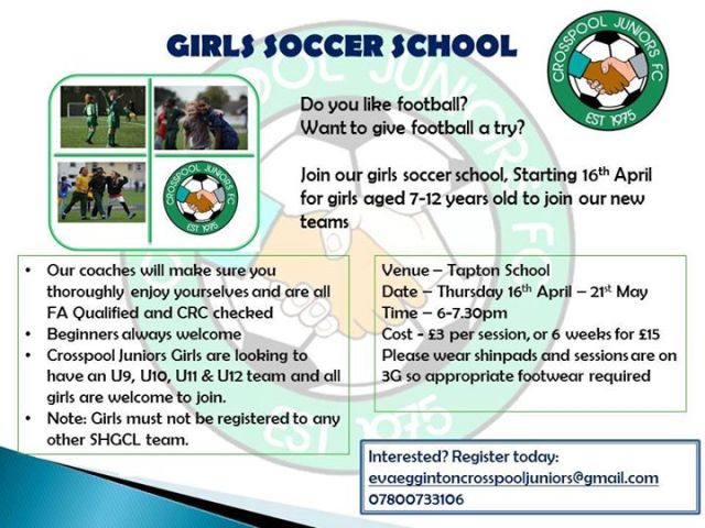 Soccer school for girls starts 16 April