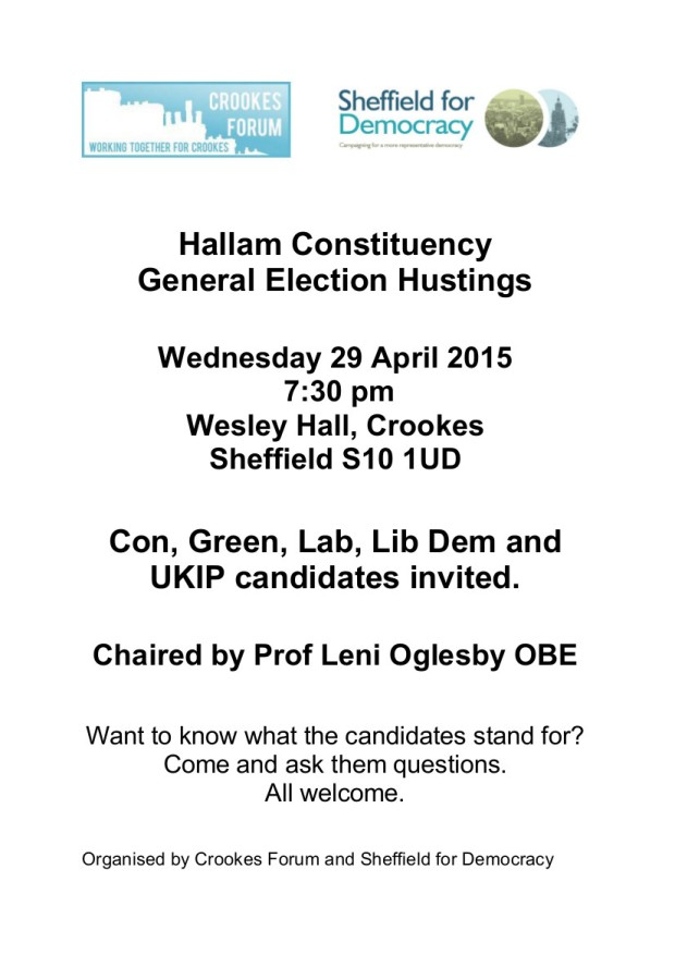 Sheffield Hallam hustings in Crookes