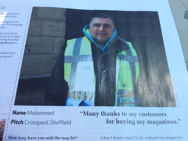 Mohammed Iqbal, Crosspool's vendor for The Big Issue North, is featured in the new issue of the magazine