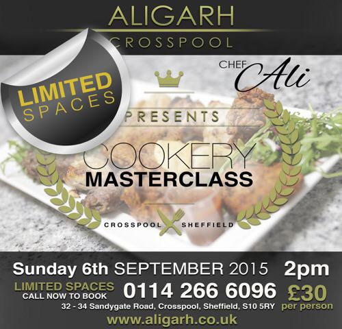 Cookery masterclass at Aligarh restaurant on Sunday 6 September