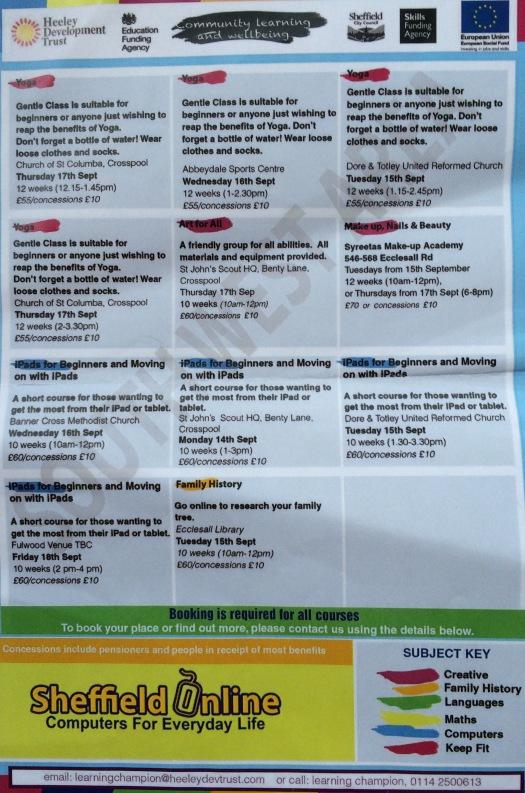 Heeley Development Trust courses starting in September