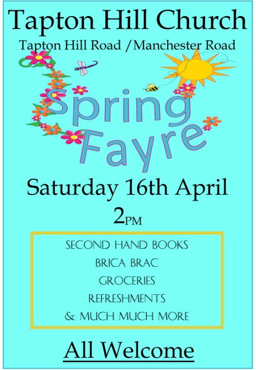 Tapton Church Spring Fayre, Saturday 16 April 2016, 2pm