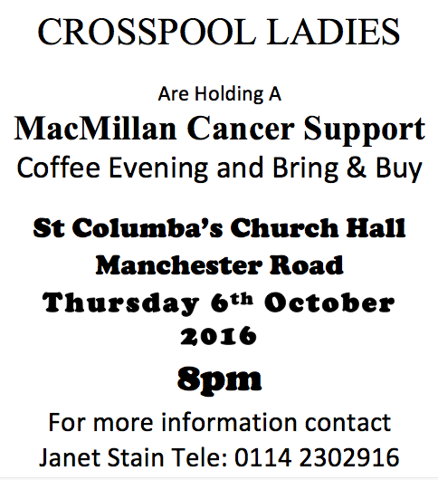 Crosspool Ladies coffee evening and bring & buy sale