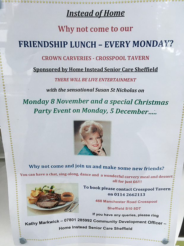 Crosspool Friendship Lunches on Mondays at Crosspool Tavern