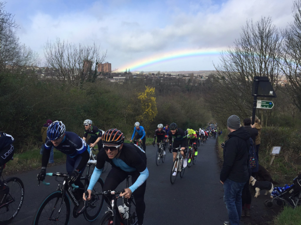 Rainbow over Hagg Hill cyclists (photo: Visit Sheffield)