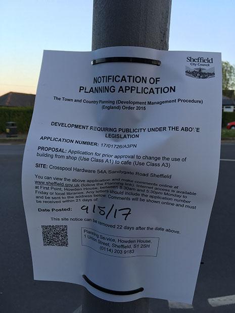 Planning notice