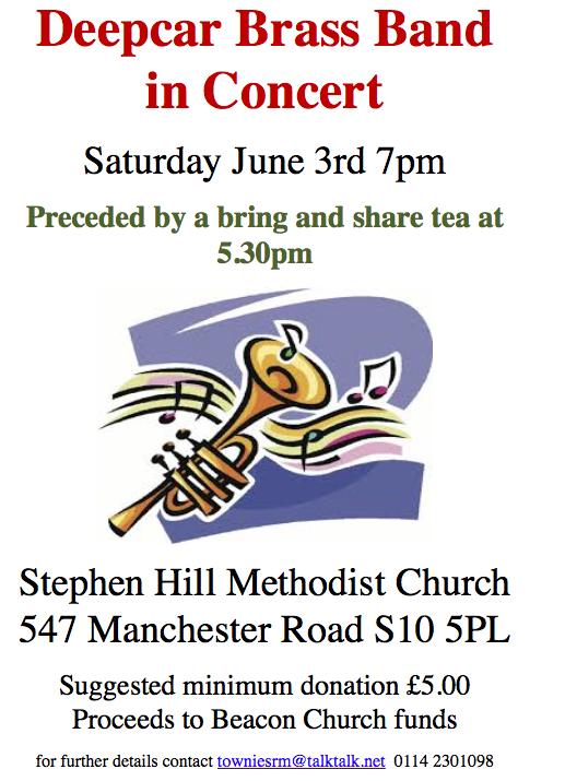 Deepcar brass band play at Stephen Hill church on 3 June 2017