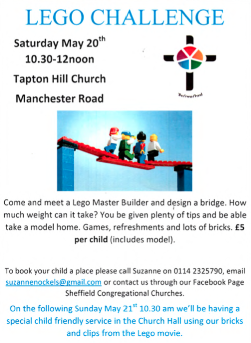 Lego Challenge at Tapton Hill Church on Saturday 20 May ...