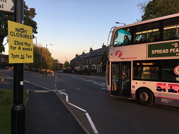 Night closures on Manchester Road from 22 May 2017