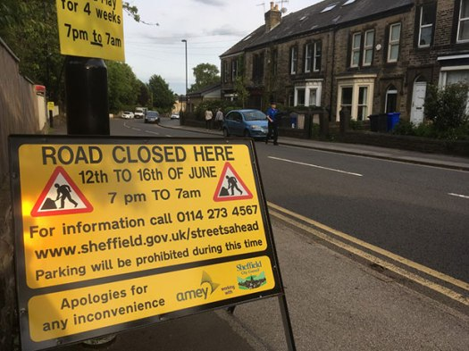 Manchester Road night closures Monday 12 to Friday 16 June